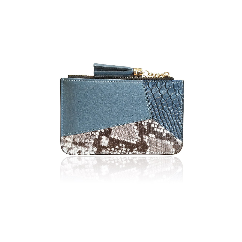 Patchwork Croc and Snakeskin Leather Mini Wallet