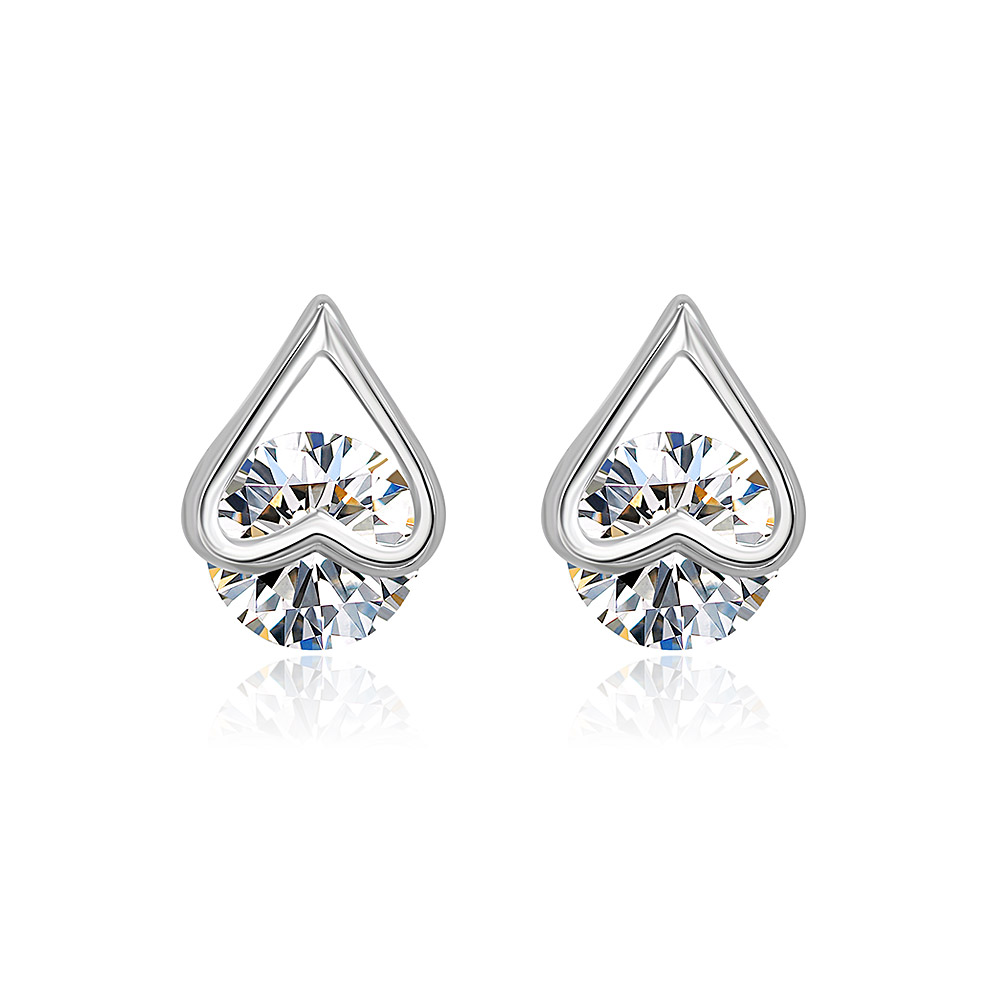 Silver Heart Ear Studs with Single CZ Stone