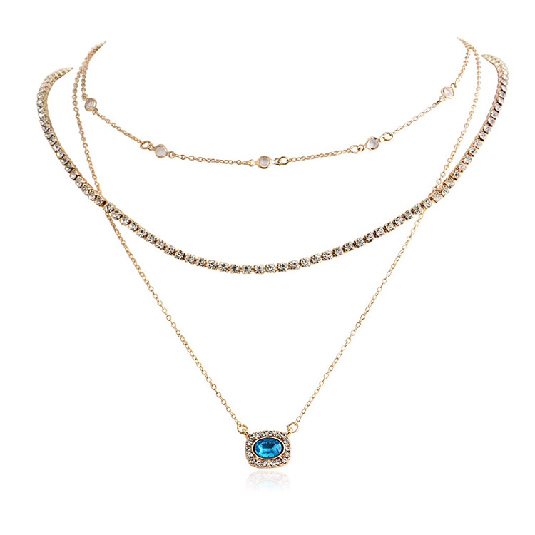 Blue Gold Three Layered Pendant Necklace