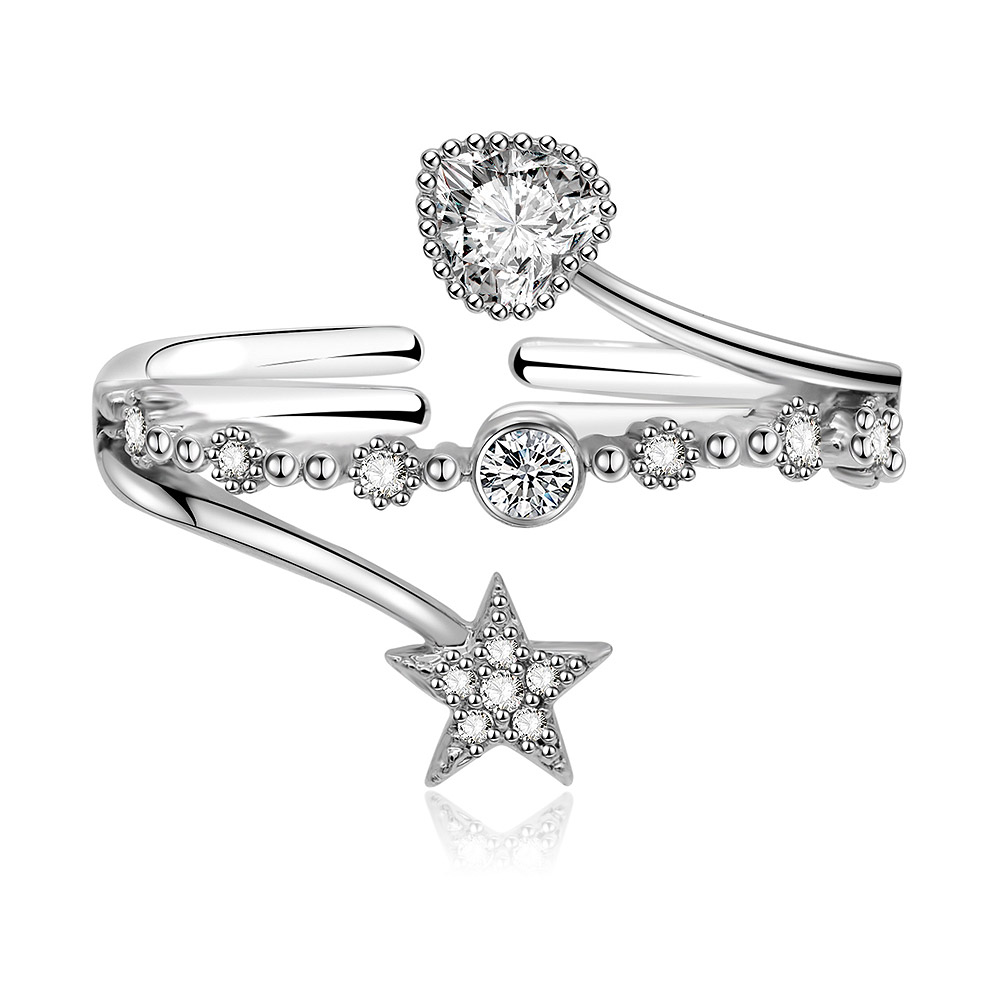 Star Heart Band Ring