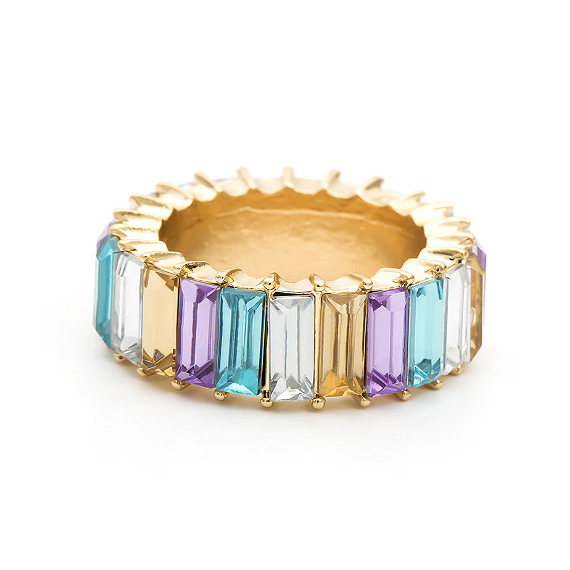 Multi Color Baguette Eternity Stack Ring